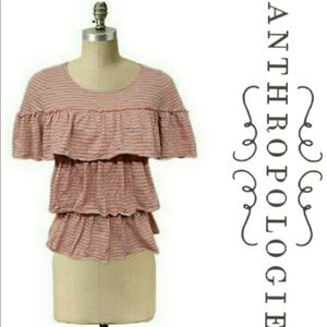 Anthropologie Postmark peach and grey ruffle top